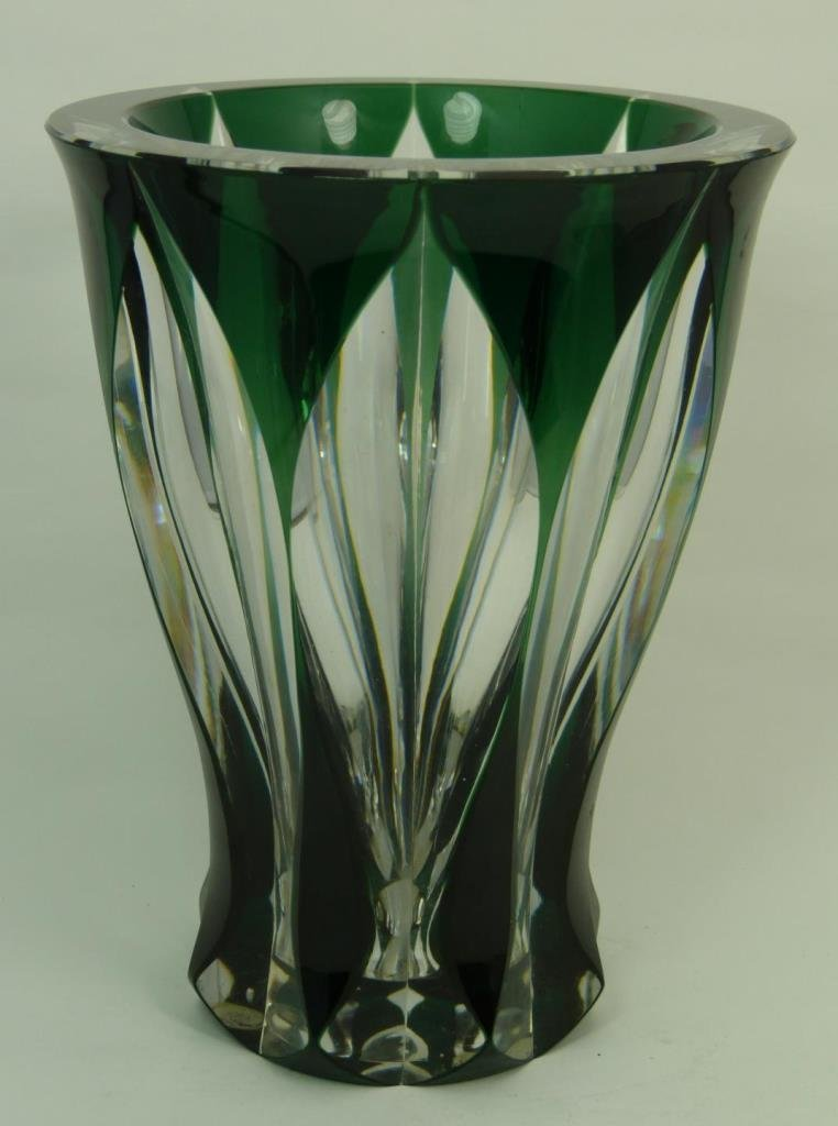 LARGE SIGNED VAL ST LAMBERT GREEN TO CLEAR VASE