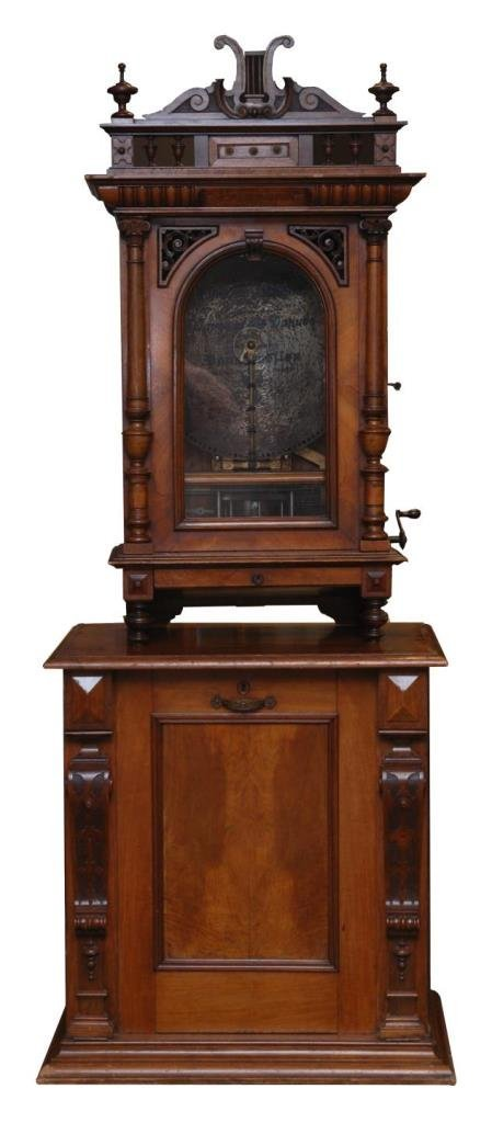 CARVED WALNUT POLYPHON COIN UPRIGHT MUSIC BOX
