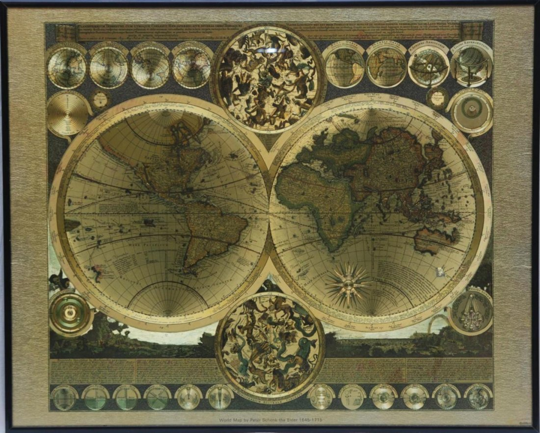 World Map By Peter Schenk The Elder.Lovely Gold Foil Map By Peter Schenk