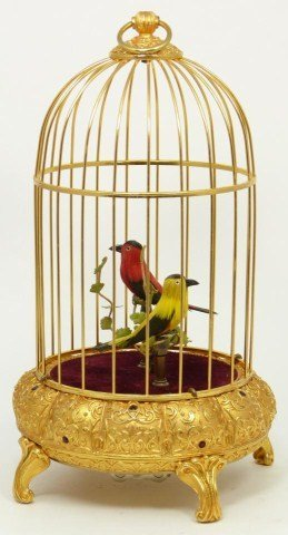 VINTAGE WEST GERMANY MECHANICAL SINGING BIRDS BOX