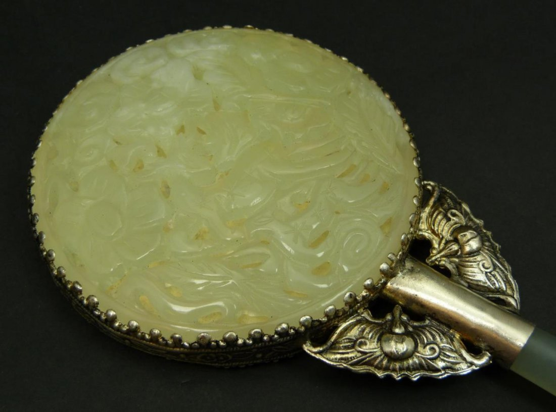 VINTAGE CHINESE WHITE JADE & SILVER HAND MIRROR - 2