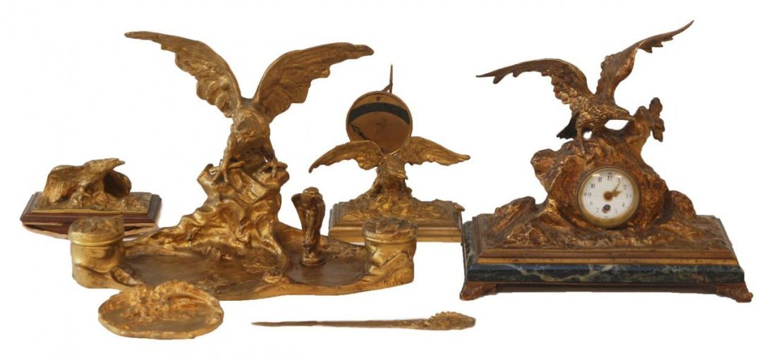 A. MARIONNET FRENCH 7 Pc. DORE BRONZE DESK SET