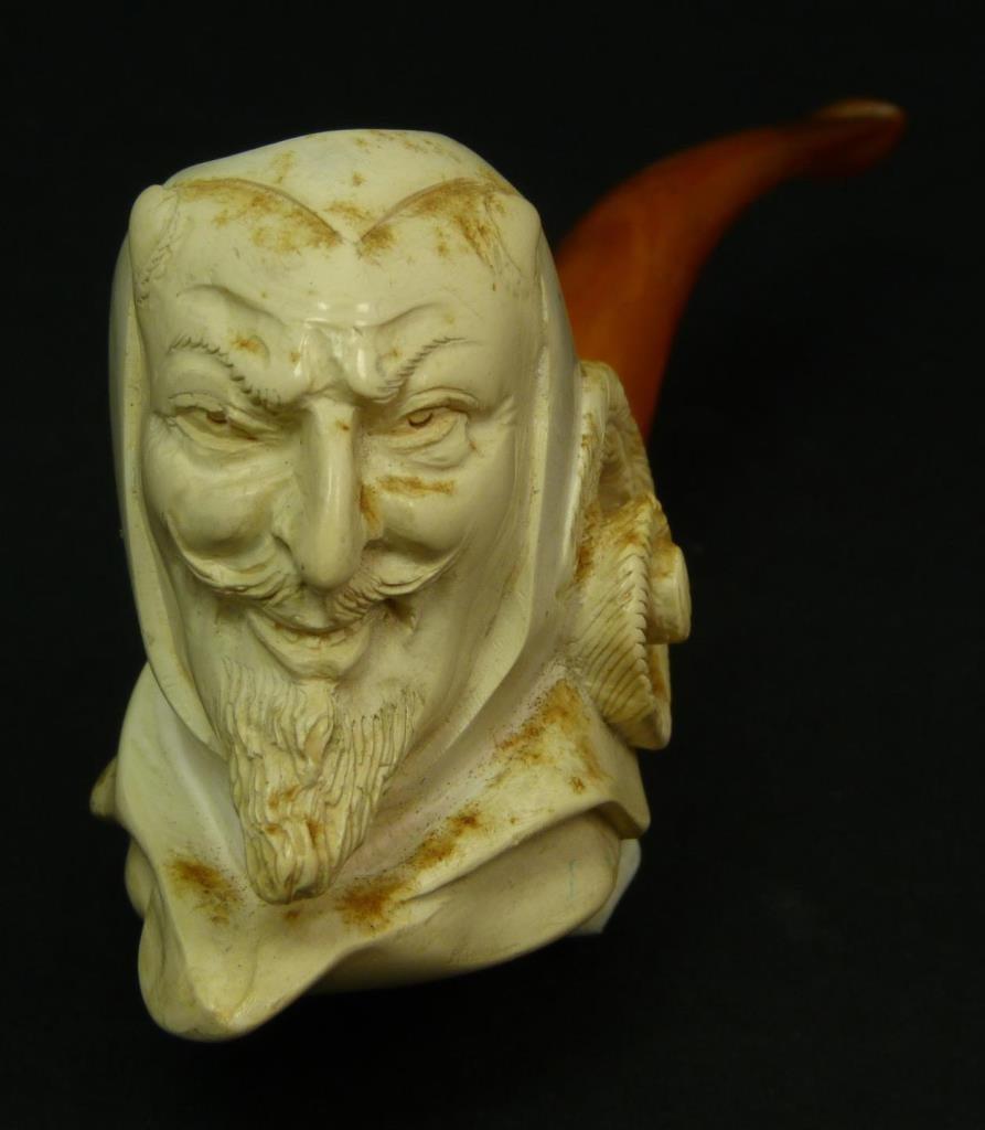 VINTAGE CARVED MEERSCHAUM PIPE OF THE DEVIL - 4