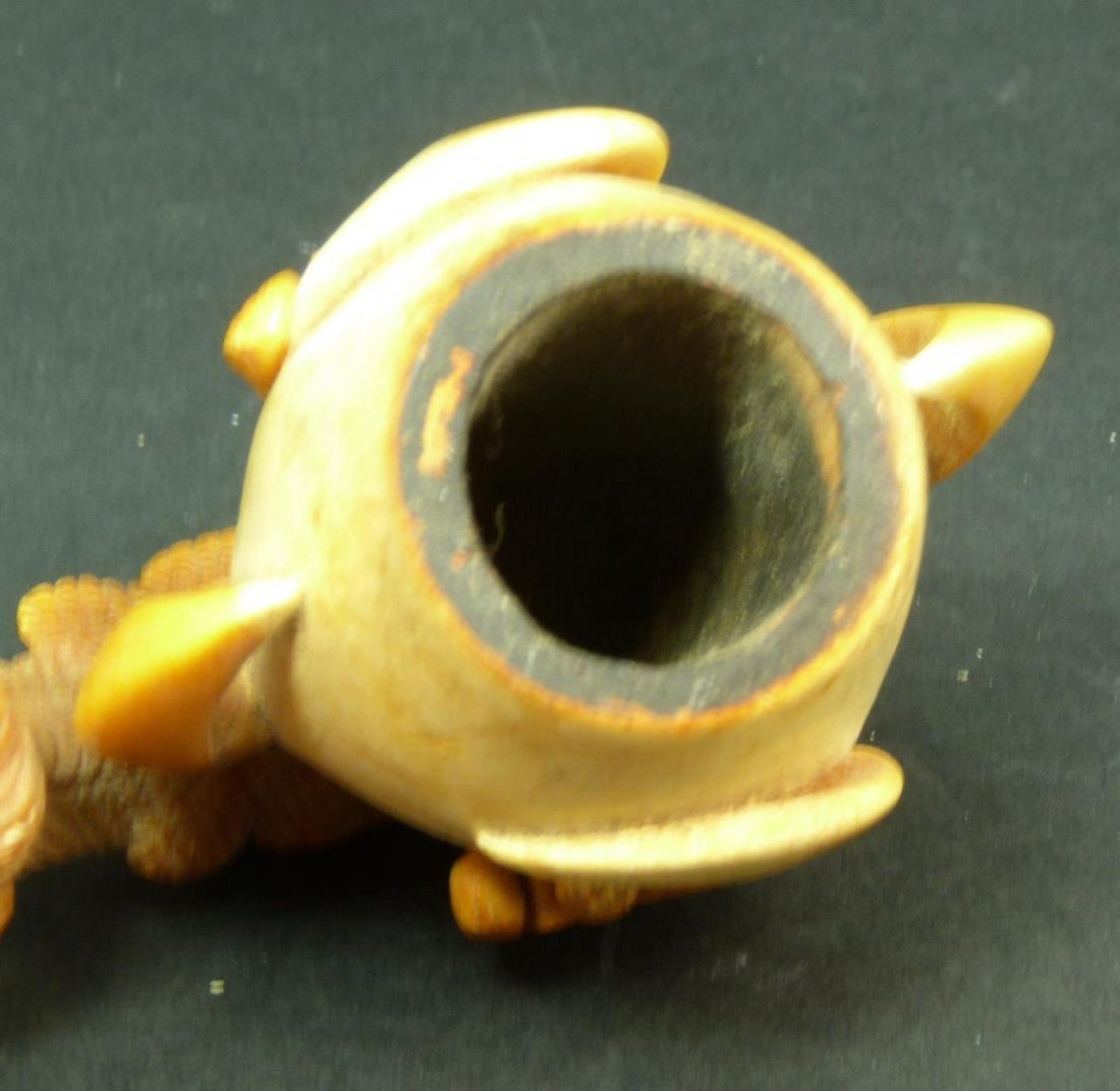 VINTAGE MEERSCHAUM PIPE WITH BOWL IN DRAGON CLAW - 4