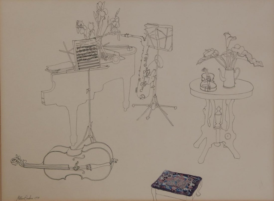 MILLICENT TOMKINS LISTED 20TH C PEN & INK PAINTING