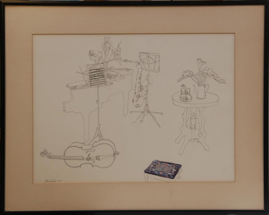 MILLICENT TOMKINS LISTED 20TH C PEN & INK PAINTING - 2
