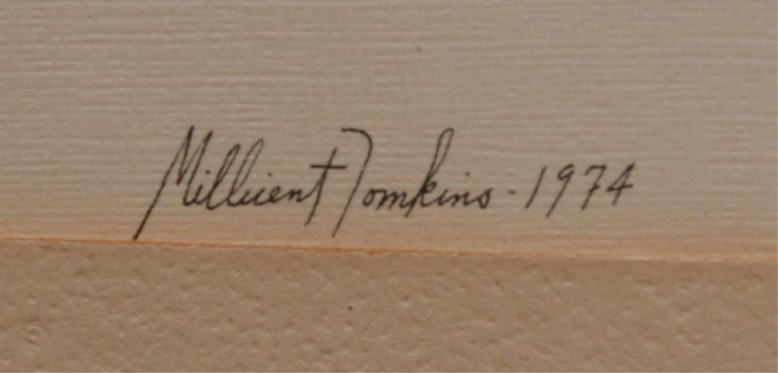 MILLICENT TOMKINS LISTED 20TH C PEN & INK PAINTING - 5