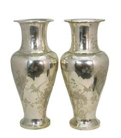 MAGNIFICENT PAIR OF ORIENTAL SILVER LARGE VASES