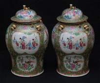 PAIR OF EXTRAORDINARY CHINESE LARGE COVERED URNS