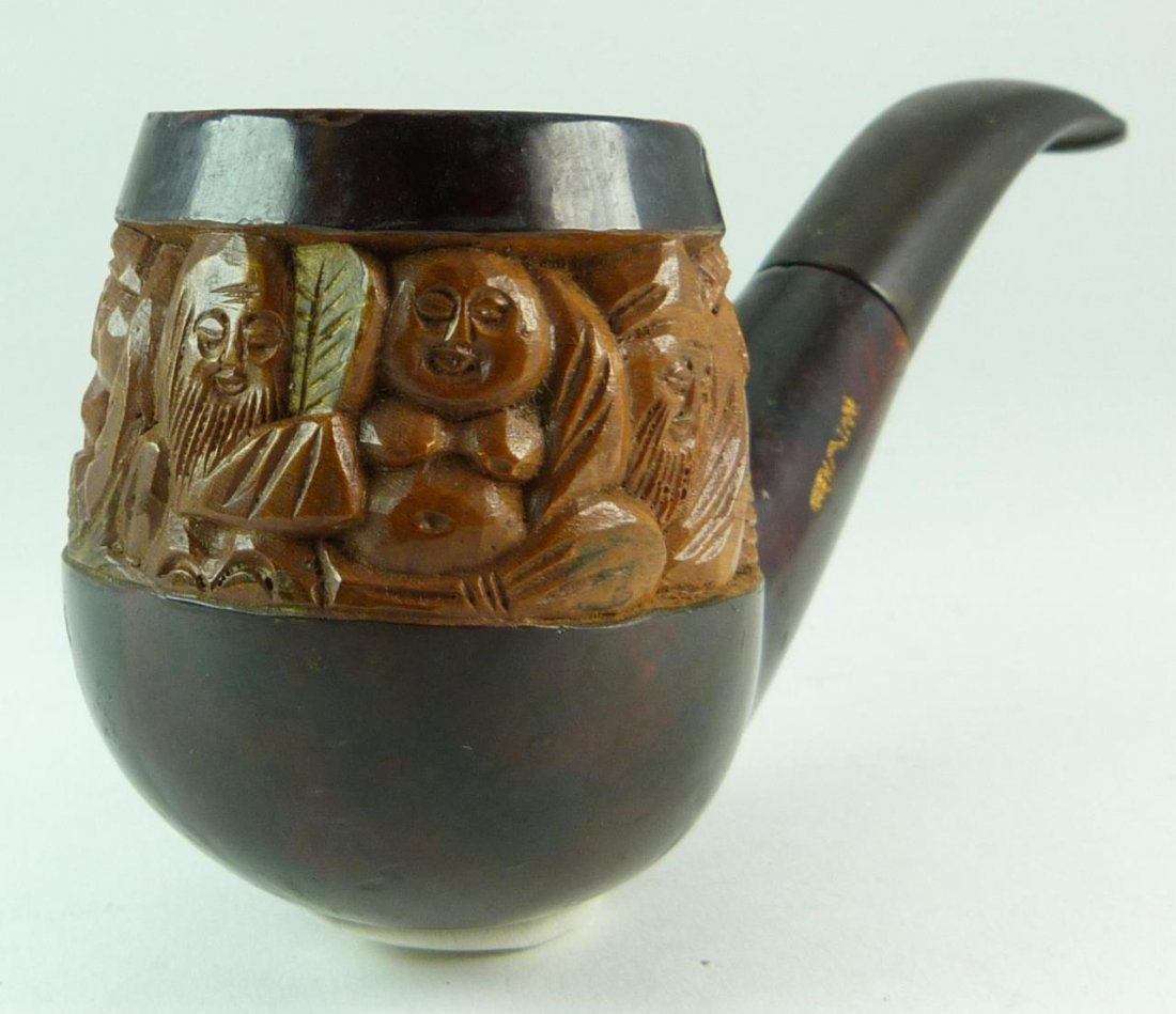 VINTAGE CARVED CHINESE PIPE WITH ELDERS