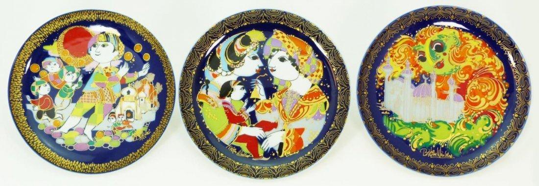 SET OF 3 BJORN WIINBLAD ROSENTHAL ALADIN PLATES