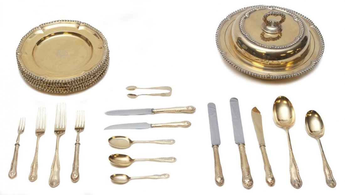 ELKINGTON & CO. 122PC GOLD & SILVER FLATWARE SET