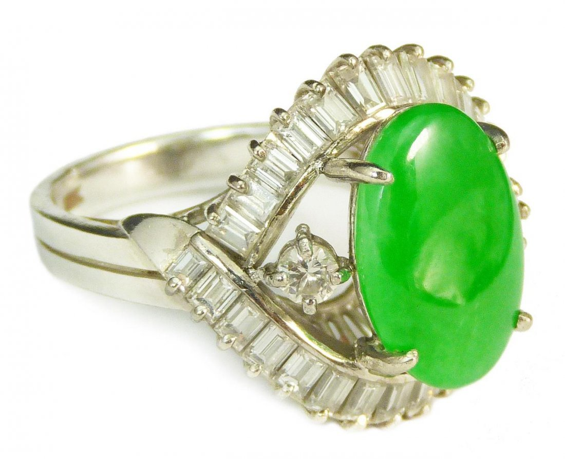 IMPORTANT 18KT WG DIAMOND & NATURAL JADEITE RING