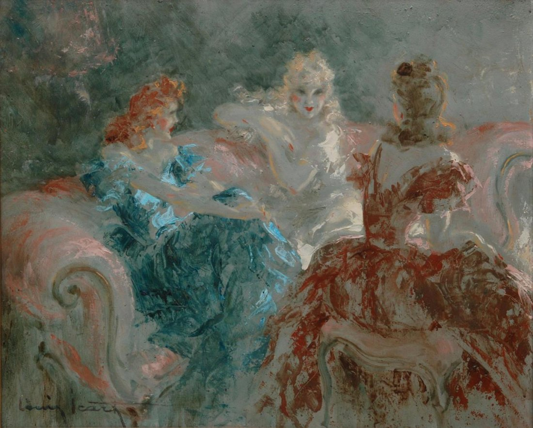 LOUIS ICART (1888-1950) RARE OIL PTG ON MASONITE
