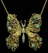 14KT YELLOW GOLD BUTTERFLY PENDANT w GEMSTONES