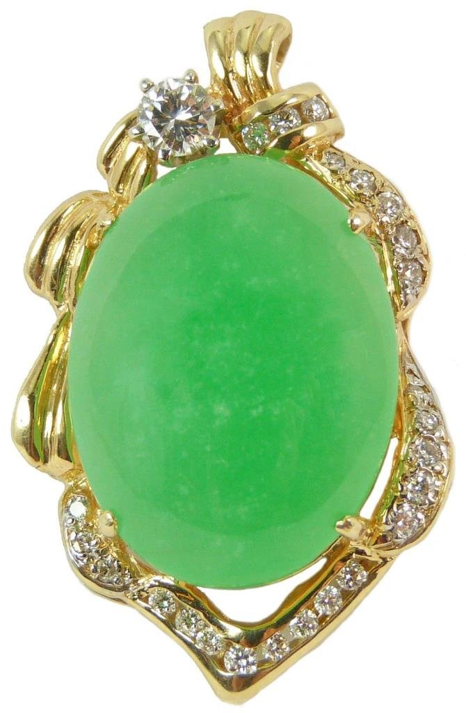 14KT YELLOW GOLD DIAMOND & NATURAL JADEITE PENDANT