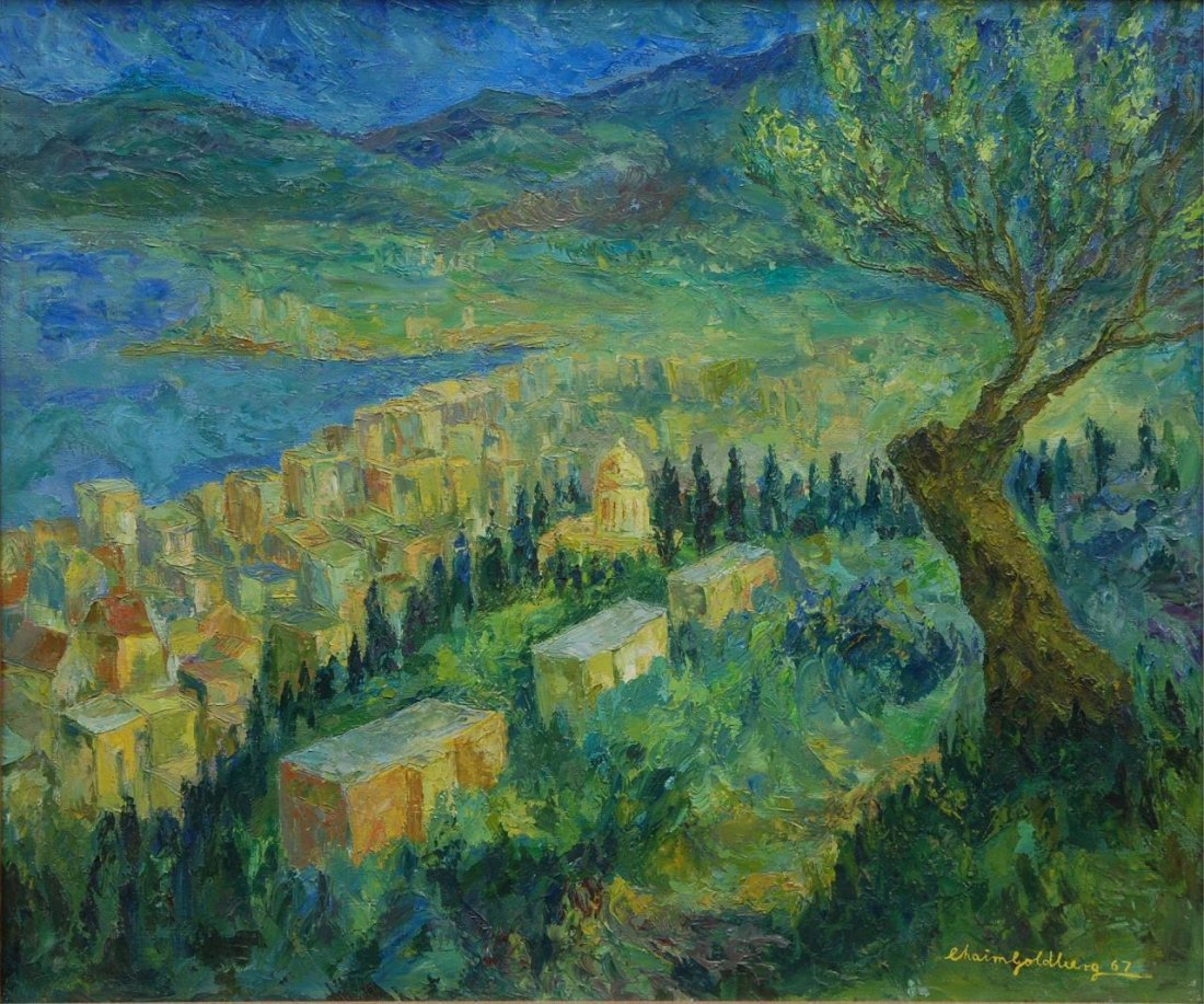 "CHAIM GOLDBERG OIL ""HAIFA A VIEW FROM THE CARMEL"""