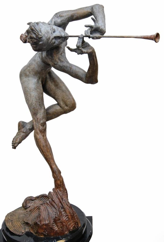 "RICHARD MACDONALD ""THE TRUMPETER, NUDE"" BRONZE"