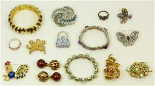 LARGE LOT OF VINTAGE COSTUME & RHINESTONE JEWELRY