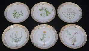 6 FLORA DANICA HAND PAINTED FLORAL SALAD PLATES