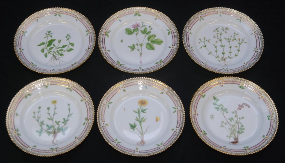 6 FLORA DANICA HAND PAINTED FLORAL SALAD PLATES