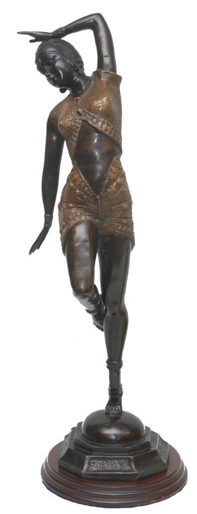 ANTIQUE BRONZE DECO FLAPPER GIRL BY BESOSA