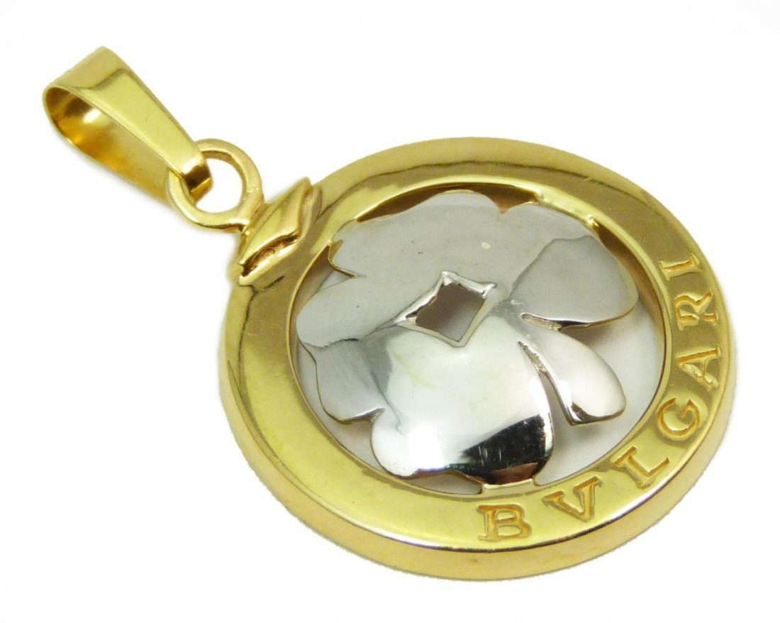 BVLGARI 18KT TWO TONE GOLD 4 LEAF CLOVER PENDANT