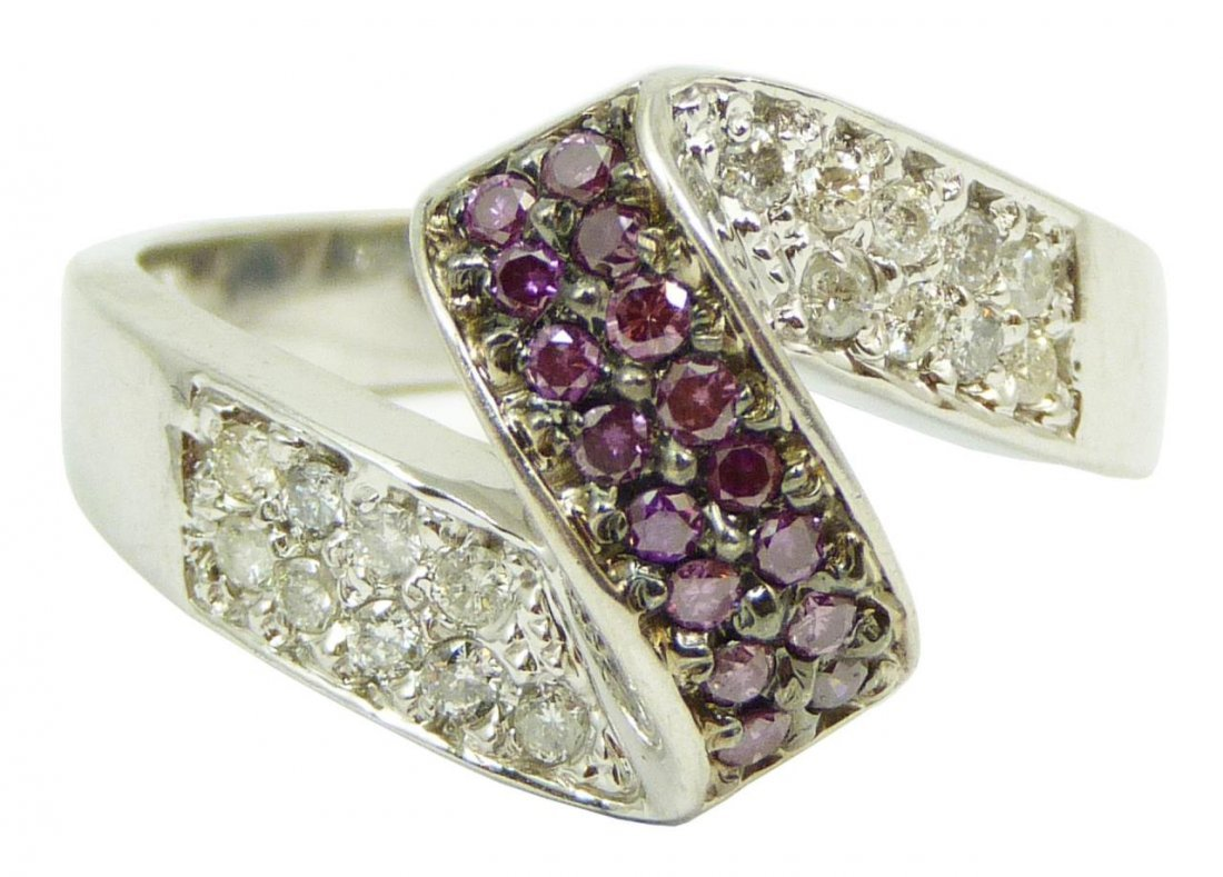 14KT WHITE GOLD WHITE & PURPLE CANDY DIAMOND RING