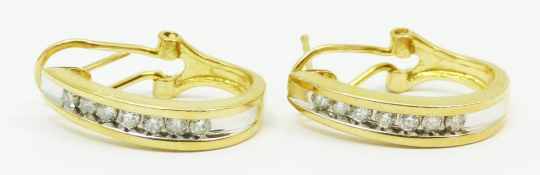 PAIR OF 14KT YELLOW GOLD & DIAMOND EARRINGS