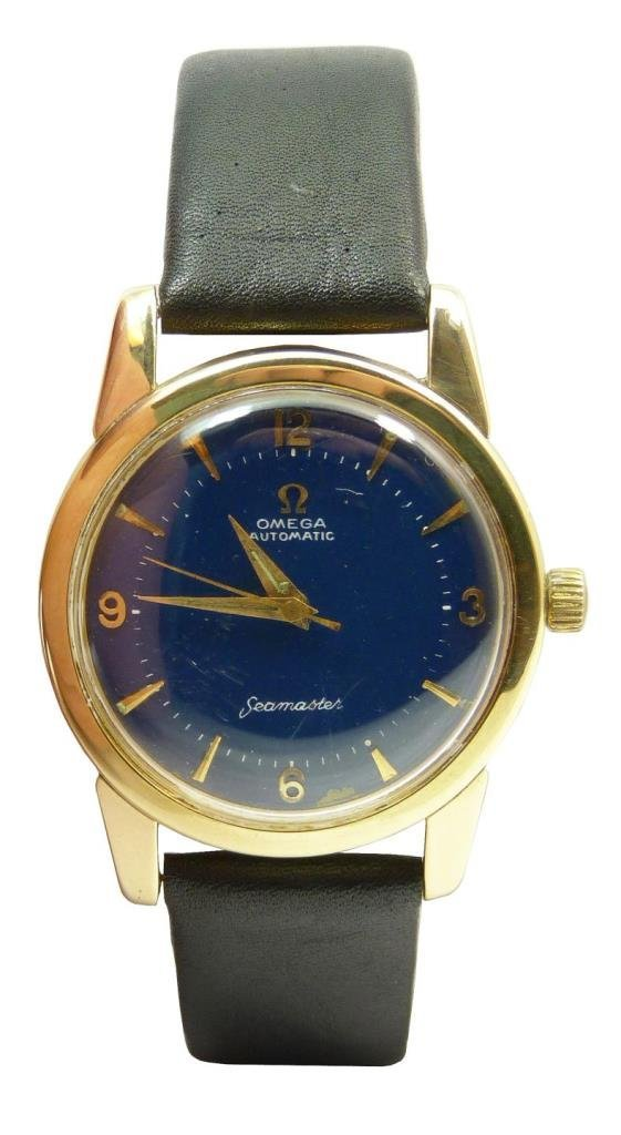 VINTAGE OMEGA 14KT YELLOW GOLD BLUE FACED WATCH