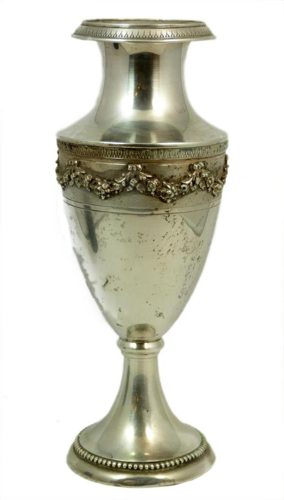 ANTIQUE 800 SILVER ORNATE TRADITIONAL VASE