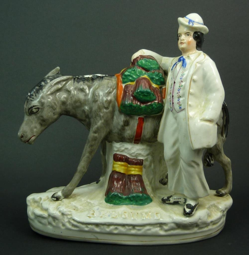 "19TH C. STAFFORDSHIRE FIGURAL ""BEESUMS"" VENDOR"