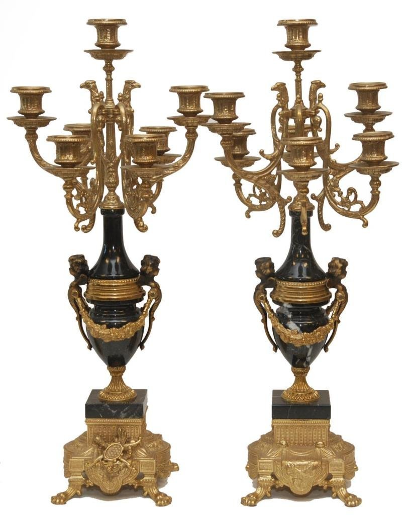 PAIR OF CONTINENTAL BRONZE & MARBLE CANDELABRAS