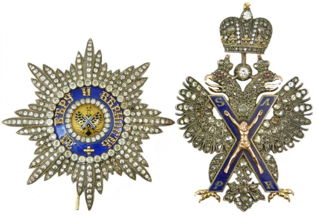 RUSSIAN GOLD & SILVER JEWELED ST ANDREW MEDALS