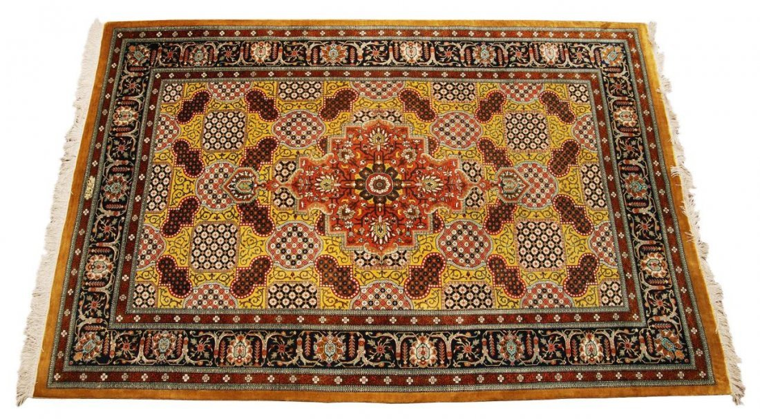 FINE SIGNED PERSIAN HAND WOVEN FLORAL RUG