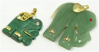 TWO CHINESE ELEPHANT PENDANTS w/ GOLD & SILVER