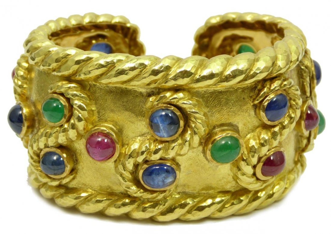 DAVID WEBB 18K YELLOW GOLD EMERALD RUBY CUFF