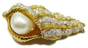 DAVID WEBB 18K & PLATINUM PEARL DIAMOND BROOCH