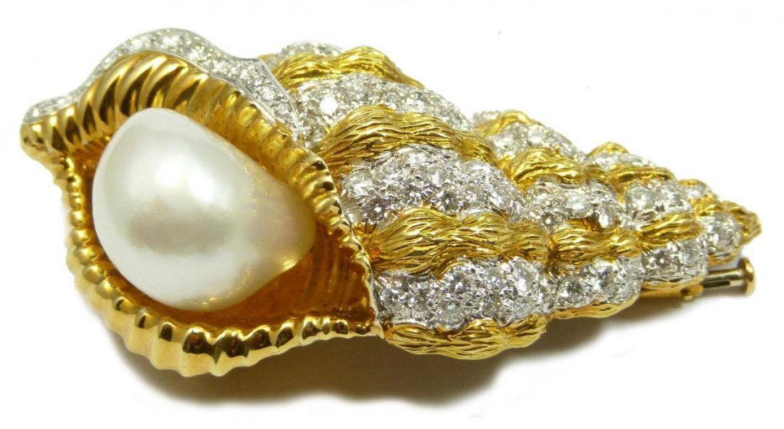 DAVID WEBB 18K & PLATINUM PEARL DIAMOND BROOCH
