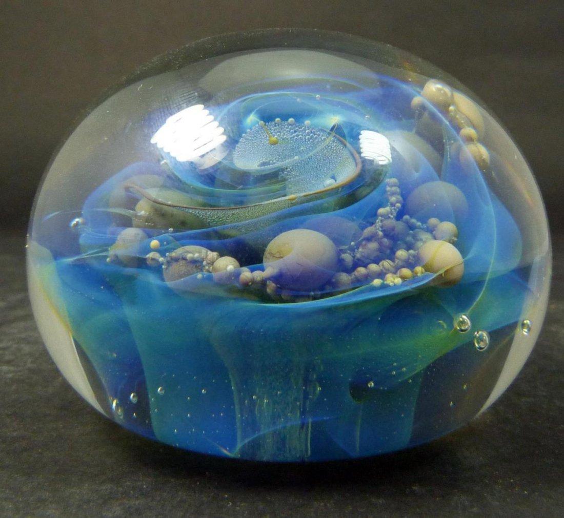SEEGERS & FEIN GLASS 'OCEAN BUBBLES' PAPERWEIGHT