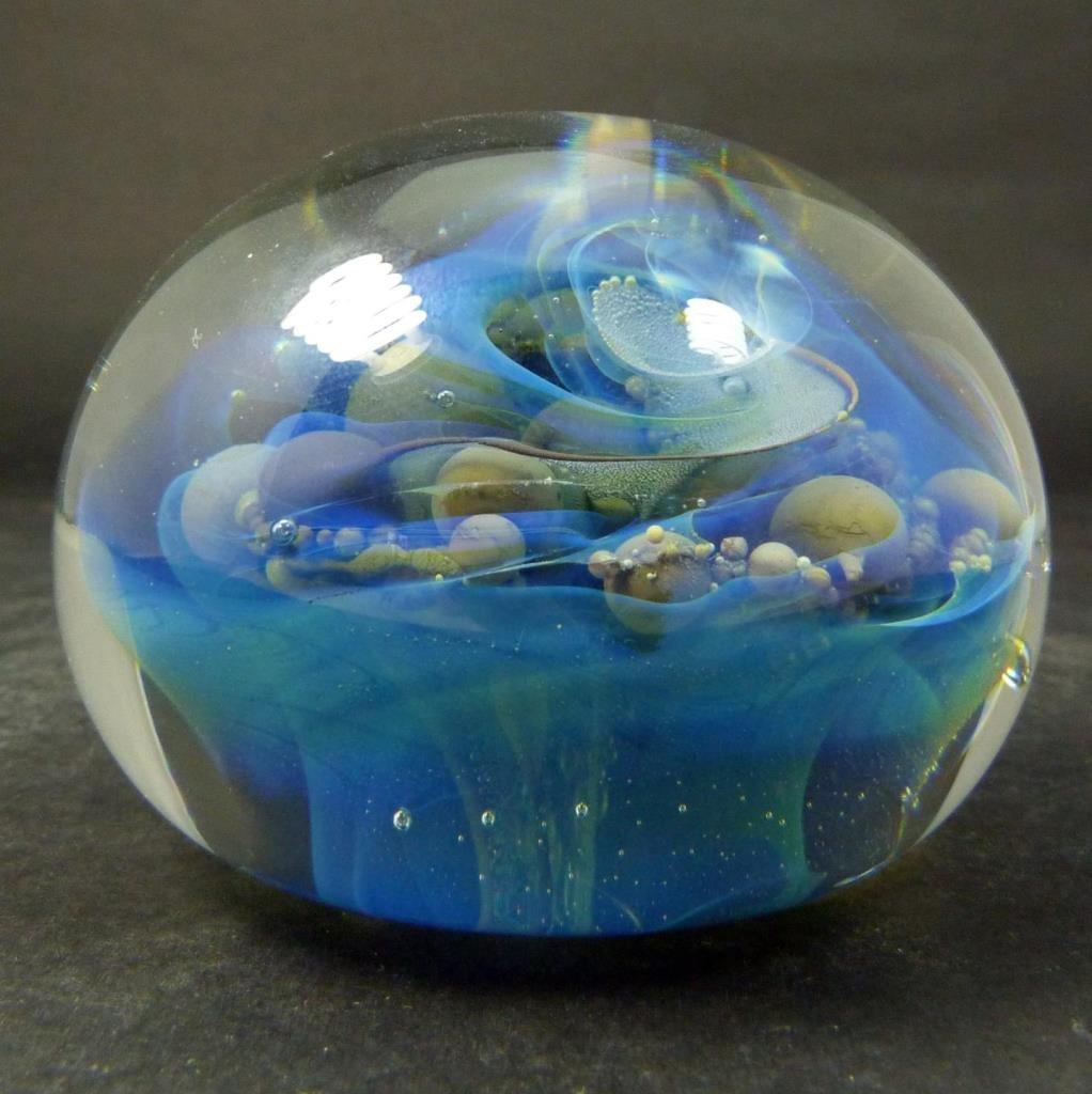 SEEGERS & FEIN GLASS 'OCEAN BUBBLES' PAPERWEIGHT - 4