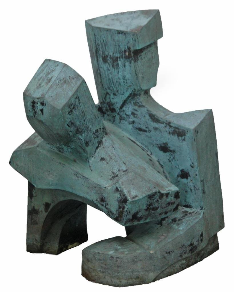VICTOR SALMONES LARGE ABSTRACT CUBISM BRONZE