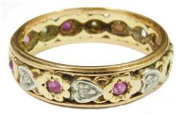 14K DIA RUBY GOLD HEART FLORAL ETERNITY BAND