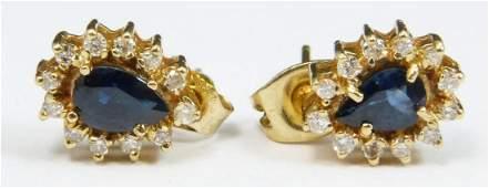 Pr. 14K YELLOW GOLD SAPPHIRE & DIAMOND EARRINGS