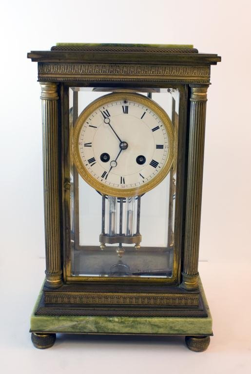 S MARTI FRENCH BRONZE & MARBLE MANTLE CLOCK