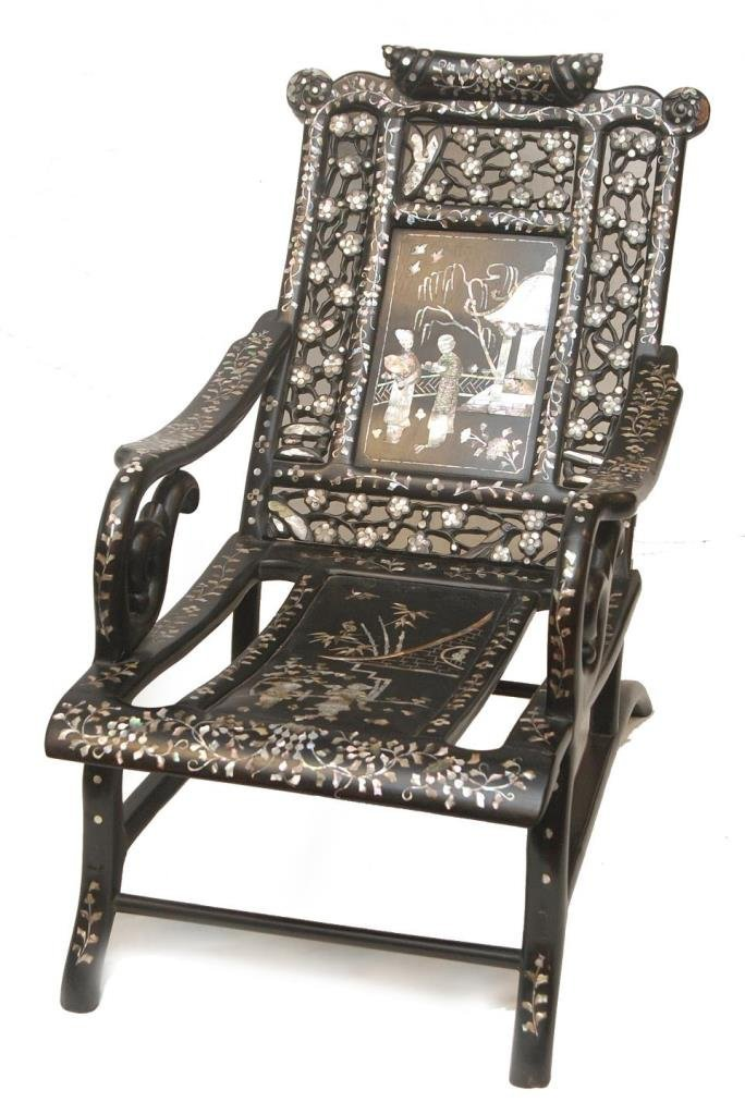 CHINESE TEAKWOOD INLAY STAR GAZING CHAIR