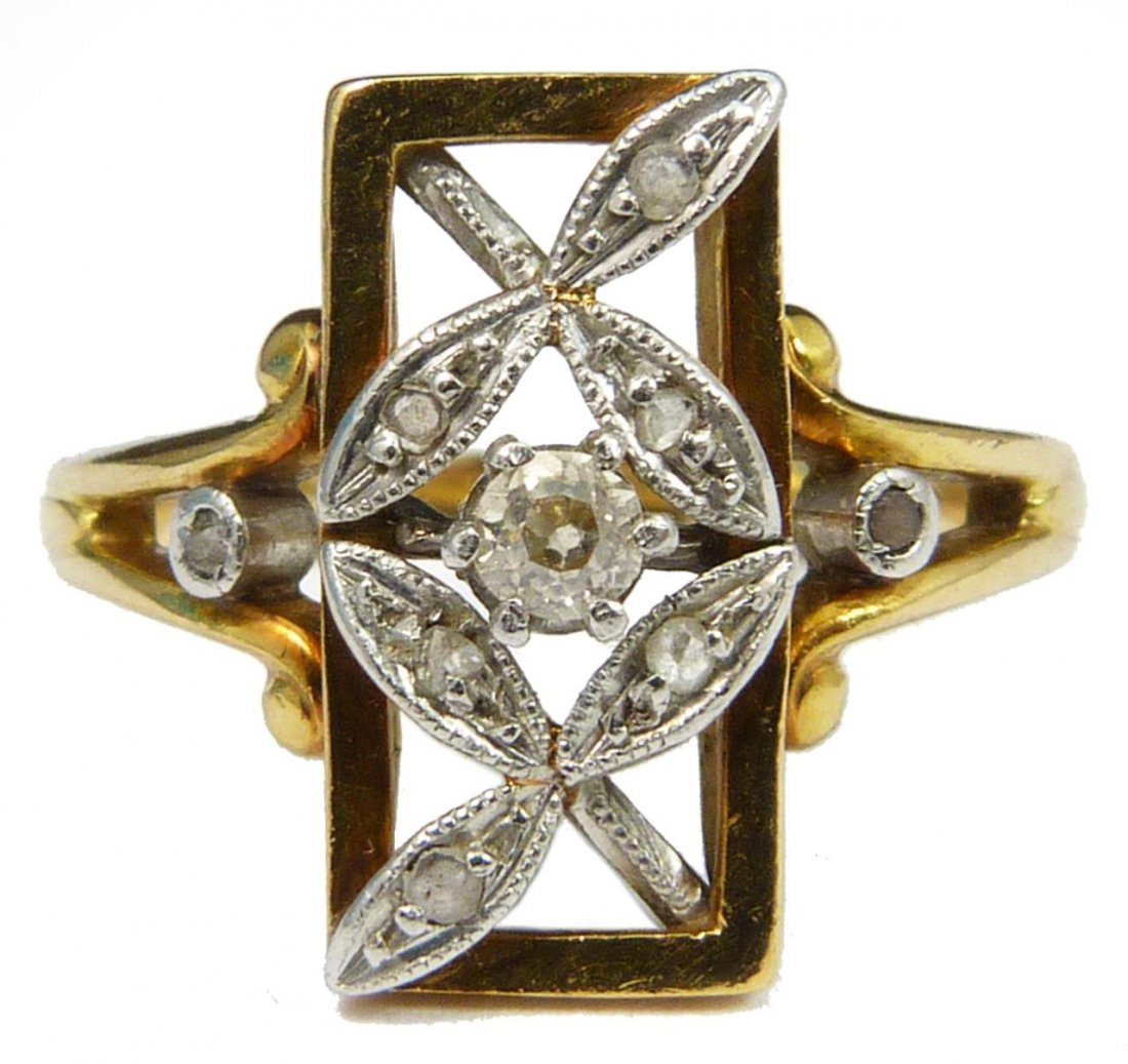 LADIES ART DECO 18K YELLOW GOLD DIAMOND RING