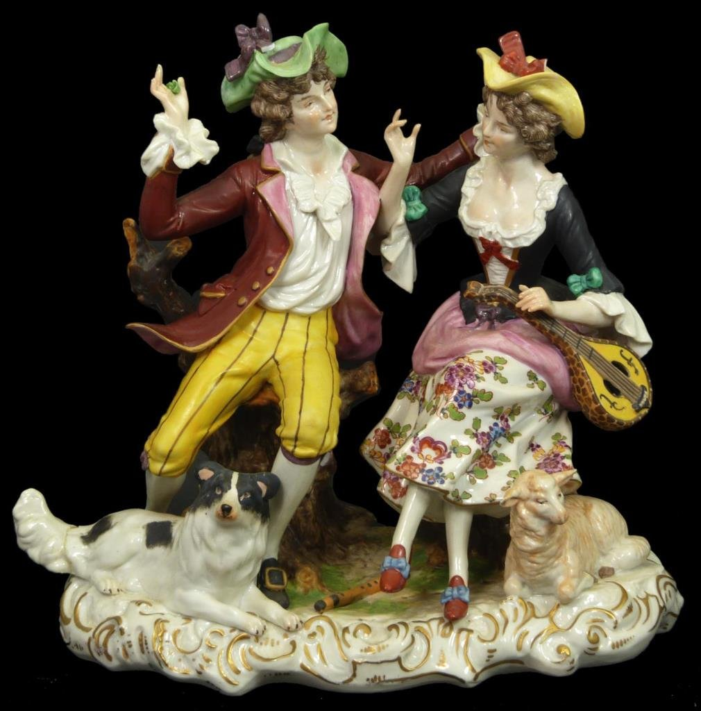 OLD CAPODIMONTE PORCELAIN GROUP FIGURE