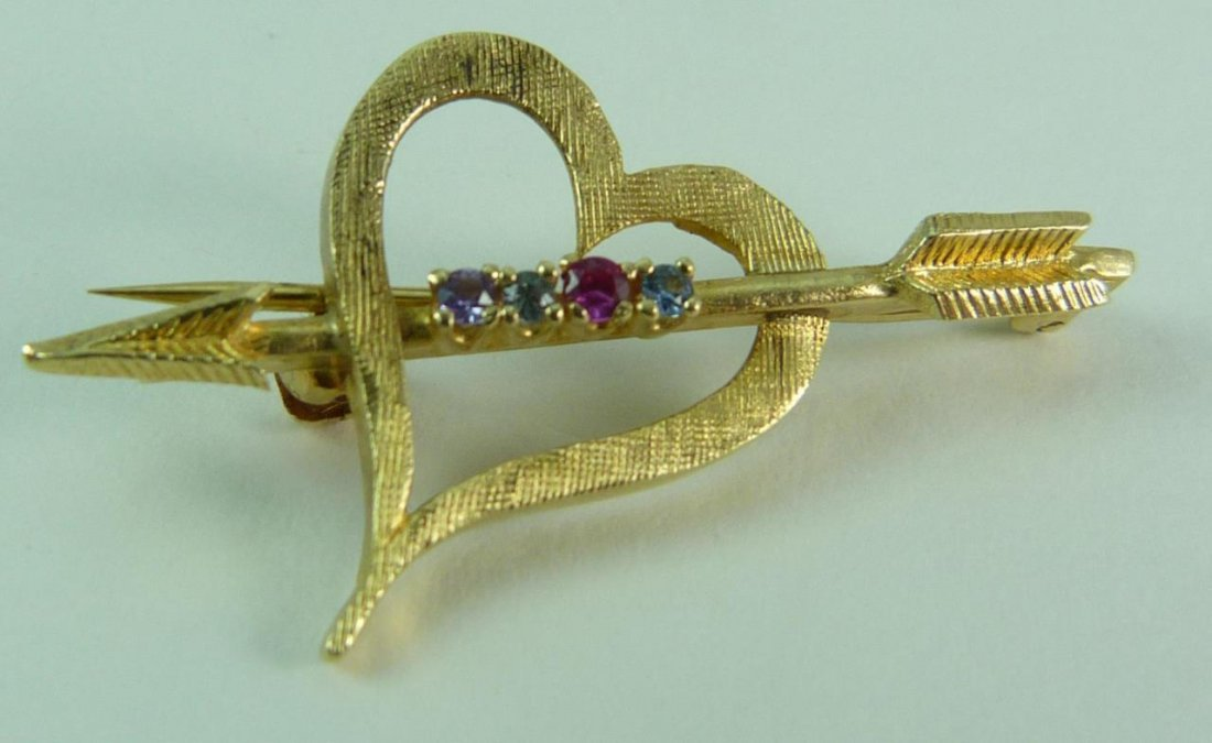 14KT YELLOW GOLD HEART & ARROW WITH GEMSTONES
