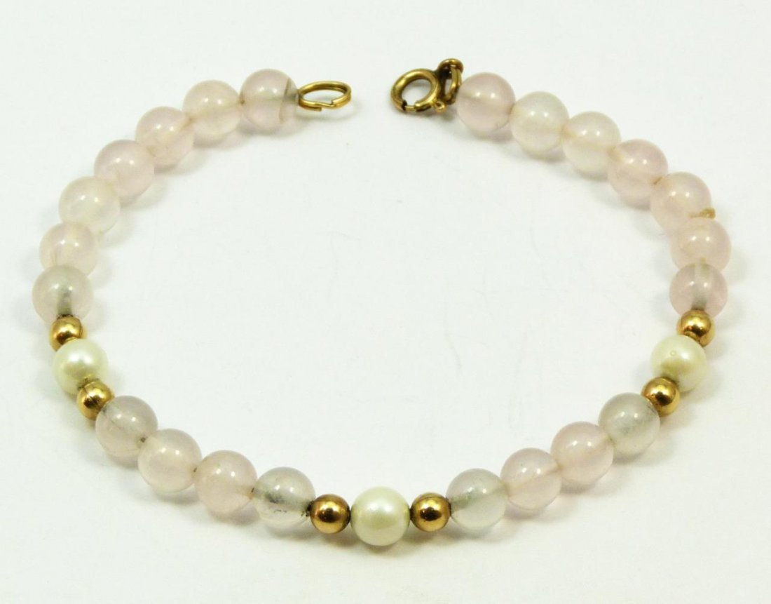 VINTAGE ROSE QUARTZ & 14KT YELLOW GOLD BRACELET